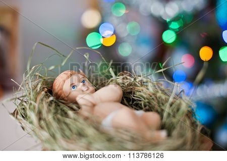 New Born Baby Jesus Christ As Crib Figure