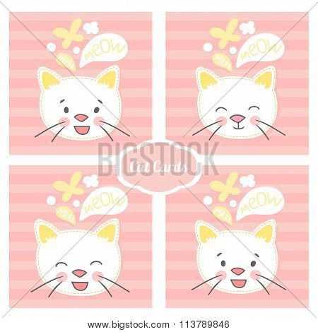 white kitten face set vector cards