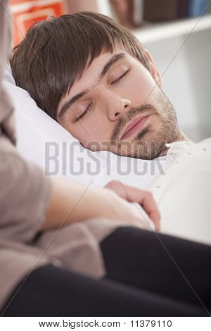 Man Sleeping At Home