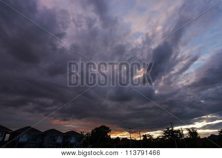 Rain Cloud Dramatic Twilight Sky Background