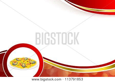 Abstract background food paella rice peas pepper shrimp mussel green red circle gold frame