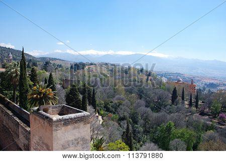 Castle walls and mountain view, Granada.