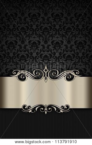 Black Floral Background With Ornamental Border.