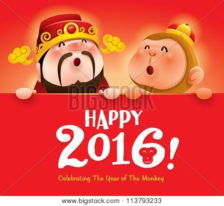 Happy 2016! Chinese God of Wealth and Chinese Zodiac monkey with big sign.