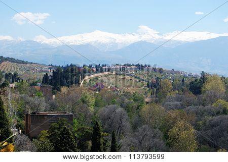 View towards the Sierra Nevada Mountains, Granada.