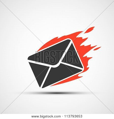 Burning Envelope. Stock Illustration.
