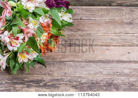 Rustic Background With Alstroemeria