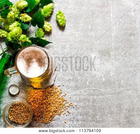 Beer, Green Hops And Malt On Stone Surface.