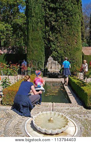 Castle gardens at the Alhambra, Granada.
