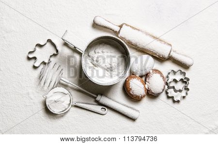Tools For Dough - A Rolling Pin, Whisk, Sieve, Moulds In Flour.