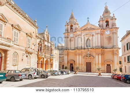 The St. Paul's Cathedral In Malta's Old Capital Mdina.