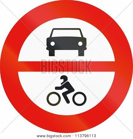 Road Sign Used In Spain - Entry Forbidden For Motor Vehicles