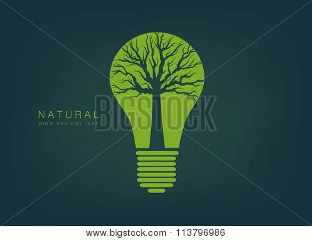 icon with a green light bulb and tree