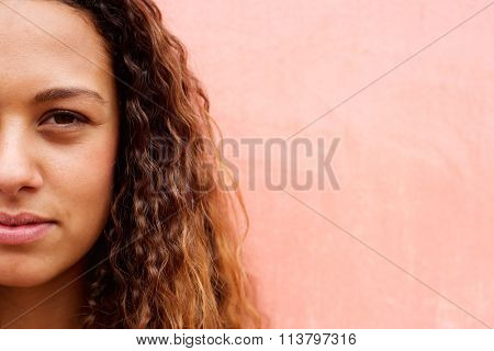 Half Face Of An Young Mixed Race Woman