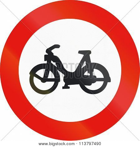 Road Sign Used In Spain - Entry Forbidden To Mopeds