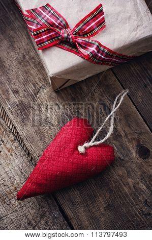 Fabric Handmade Hearts And Gift