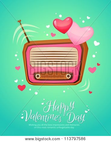 Romantic Retro Love Radio Vintage Postcard