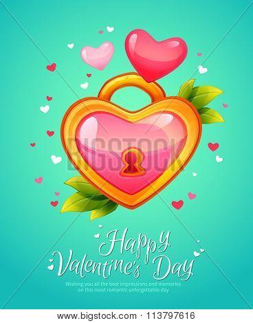 Romantic Heart Shaped Lock  Retro Postcard
