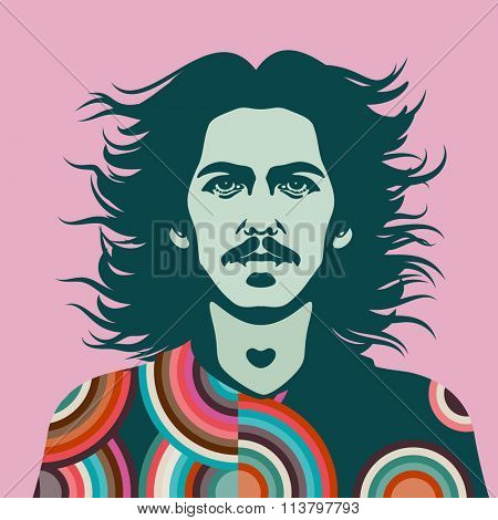 JANUARY 8 2016: Vector Illustration of George Harrison, eps10, vector - stock vector