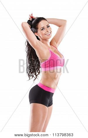 Stretching Beautiful Fitness Sexy Woman