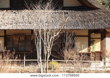 Japanese thatched roof house in Saiko Yamanashi Japan