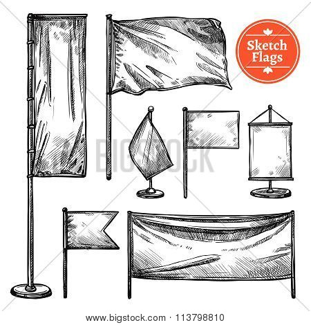 Hand Drawn Sketch Flags Set