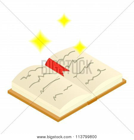 Magic book of spells open isometric 3d icon