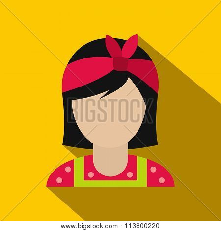 Housewife with a red bow on her head flat