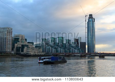 St George Wharf building in London with river thames