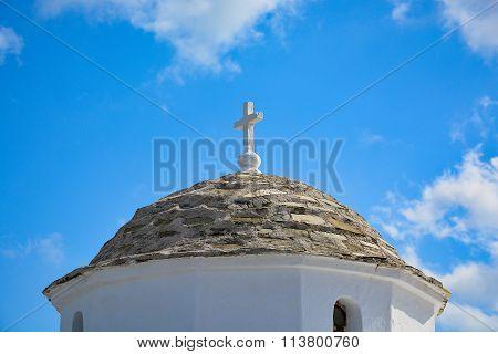 Dome of traditional Greek church on Skopelos island