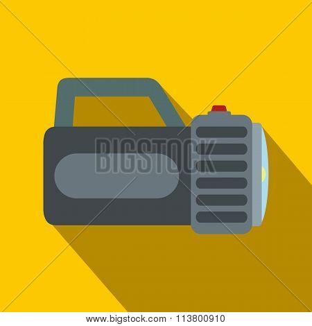 Black flashlight flat icon