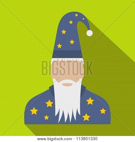 Wizard in a hat with stars flat