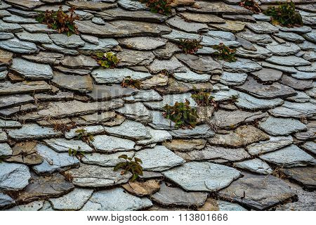 Pattern of traditional stone roof tiles with plants on them in Skopelos, Sporades, Greece
