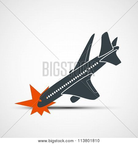 Plane Crash. Stock Vector Illustration.