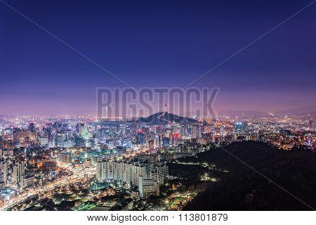 Downtown Skyline Of Seoul, South Korea With Seoul Tower.