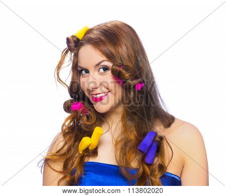 Pretty Smiling Woman In Colorful Curlers