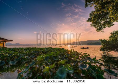Sunset at West Lake in Hangzhou, China