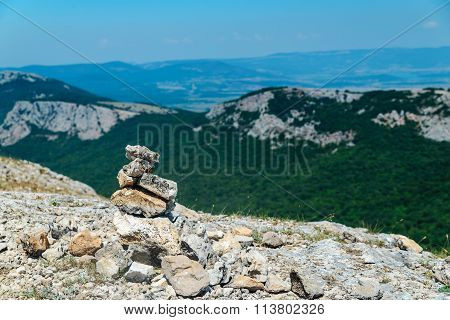 Hill Of Stones On Top Of The Mountain