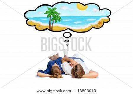 Beautiful couple lying on floor