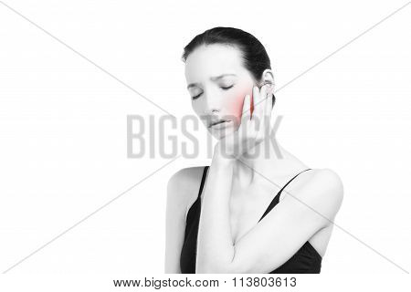 Woman With Toothache. Pain In The Human Body Isolated On White Background