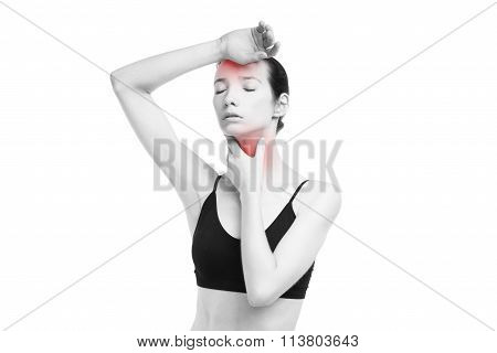 Woman With Headache And With Pain In The Throat Isolated On White Background