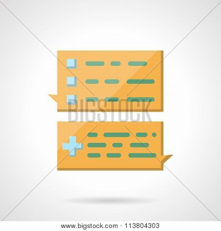 Task chat flat color vector icon