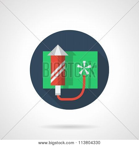 Red fireworks rocket round flat color vector icon