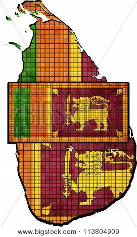 Sri Lanka Map With Flag Inside.eps