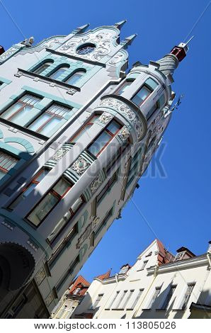 Picture Of A Tallin , Estonia. 24 August 2015- Tourist View Of Old Town Architecture In Tallinn, Est