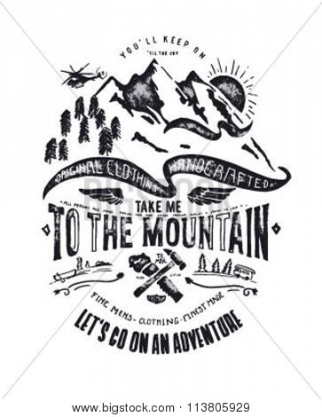mountain illustration with type, icon