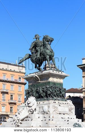 Monument to King Victor Emmanuel II on Piazza del Duomo Milan