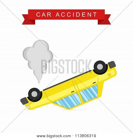 Car crash and accident on white background, Upside-down auto.