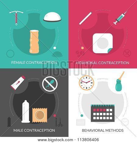 Contraception Concept Icons Set