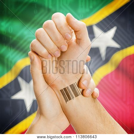 Barcode Id Number On Wrist And National Flag On Background - Saint Kitts And Nevis